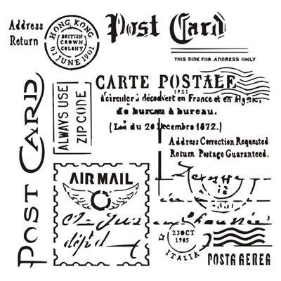 """Carte Postale 6x6"""" stencil, Rosalie collection"""