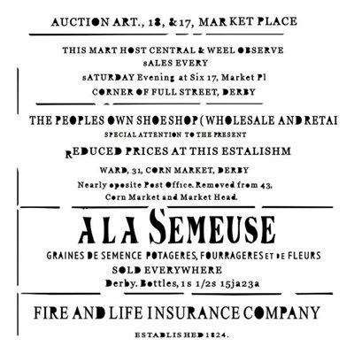 """Vintage newspaper 6x6"""" stencil, Rosalie collection"""