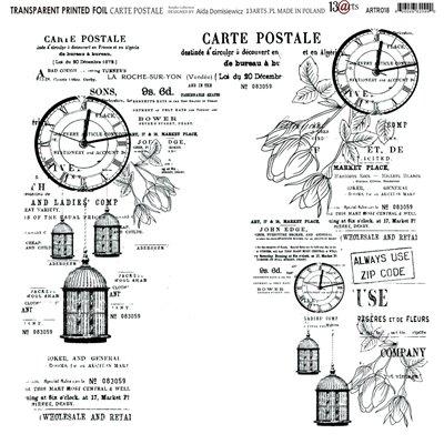 "Transparent foil CARTE POSTALE Rosalie 12x12"""