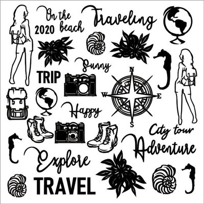 Travel the world chipboard set