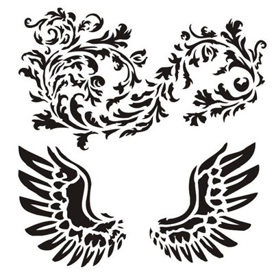 "Wings with ornament 6x6"" stencil, Victoriana collection"