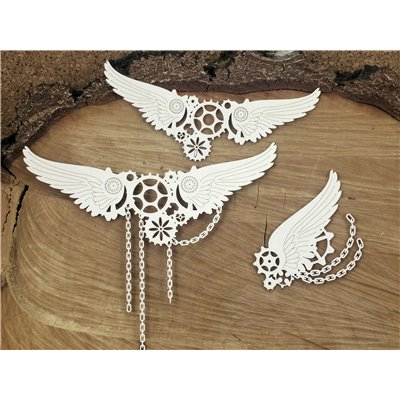 Steampunk - Flying hearts - Big chained wings
