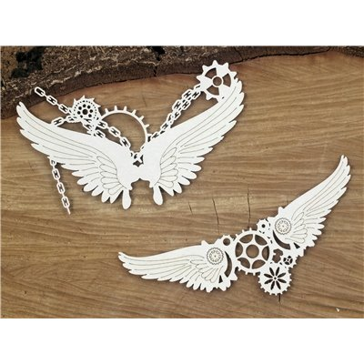 Steampunk - Flying hearts - Small chained wings