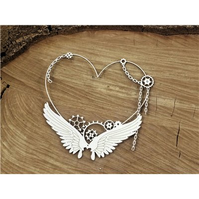 Steampunk - Flying hearts - Small heart frame