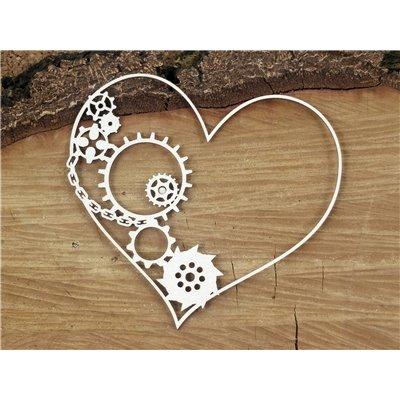 Steampunk - Flying hearts - half gear heart