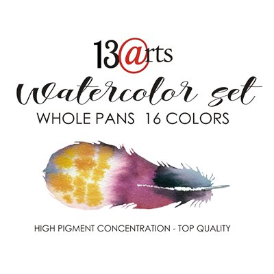 Watercolors set – 16 whole pans colors
