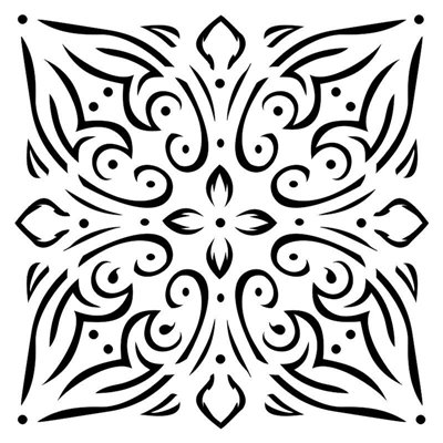 Tile ornament 6x6 stencil, BELLA collection