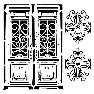 Vintage door 6x6 stencil, BELLA collection