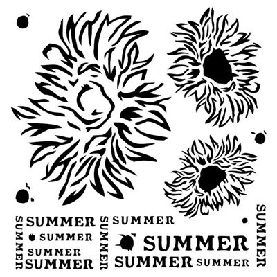 Summer Flowers 6x6 stencil, END OF SUMMER collection