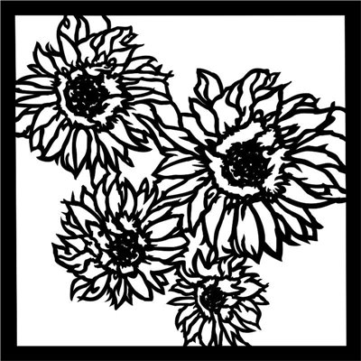 Stencil Sunflowers 6x6 stencil, END OF SUMMER collection