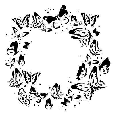 Wreath of butterflies 6x6 stencil, SUNRISE collection