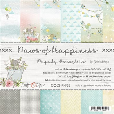 """Paws of Happiness - paper pad 8""""x8"""""""