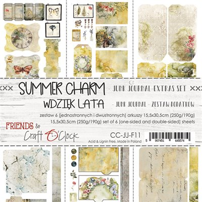 Summer Charm - Junk Journal set of element sheets