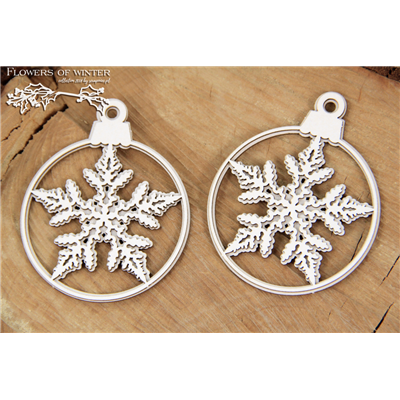 Flowers of Winter - two 2-layers baubles