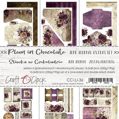 Plum In Chocolate - Junk Journal elements sheet set