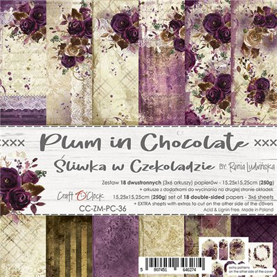 Plum In Chocolate - paper set 15,25 x 15,25 cm