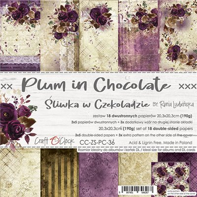 Plum In Chocolate - paper set 20,3 x 20,3 cm